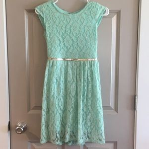 Mint Lace Dress With Attached Gold Belt
